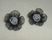 Black Flower Pairs-Black, Pearls, Flower, Round