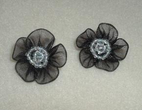 Black Flower Pairs-Black, Pearls, Flower, Round