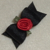 Black with Red Ribbon Rose 5/8