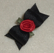 "Black with Red Ribbon Rose 5/8""-"