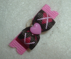 """Tiny Brown & Hot Pink Argyle Heart 3/8""""-Brown, Pink, Hot Pink, Argyle, Plaid, Preppy, Heart, Valentine, Valentines, Easter, 3/8"""
