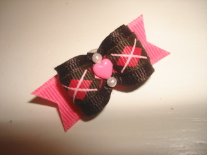 "Brown & Hot Pink Argyle 5/8""-Brown, Pink, Hot Pink, Argyle, Plaid, Preppy, Heart, Valentine, Valentines, Easter, 3/8"