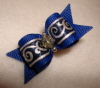 "Navy Blue with Satin Silver Swirl 5/8""-"