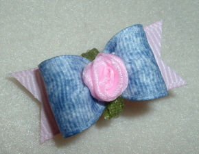 "Denim with Ribbon Rose 5/8""-"