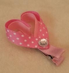 Girls Bows - Heart Clip-Girl, Barrette, Heart, Pink, Rhinestone, Valentines, Valentine, Clip, Girls