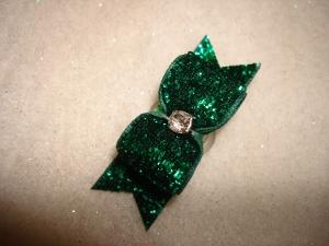 "Glitter Emerald 5/8""-Glitter, bow, dog, puppy, yorkie, maltese, glitzy, red, blue, emerald, fucshia, pink, purple, rhinestone, sparkle, fancy, glamour, superb"