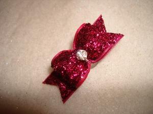 "Glitter Fucshia 5/8""-Glitter, bow, dog, puppy, yorkie, maltese, glitzy, red, blue, emerald, fucshia, pink, purple, rhinestone, sparkle, fancy, glamour, superb, green"
