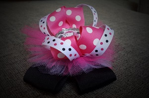 Girls Bows - Hello Hot Pink and Black with Tulle-Girls, Boutique, Hot Pink, Dot, Hairbow, Stacked, Layers, Tulle, OTT, Black