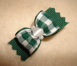 "Forest Green Gingham Check 5/8""-Christmas, Forest Green, Gold, Check, Beads, Cats Eye, 5/8"