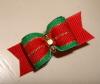 Red & Green Stripe with Gold Rhinestone-Red, Green, Gold, Beads, Rhinestone, Santa, Christmas, Holiday, Xmas, Bead, Grosgrain, Stripes, Stripe, Preppy, Boy, Girl, Festive,