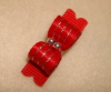 "Tiny Red & Silver Accented Satin 3/8""-"