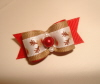 "Rudolf the Red Nosed Reindeer 5/8""-Rudolf the Red Nosed Reindeer, Red, Christmas, Oatmeal, Tan, White, Xmas, holiday, top, knot"