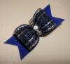 "Sparkling Blue 5/8""-Sparkle, Sparkling, Glitter, Navy, Royal Blue, Silver, Lame, Rhinestone, Beads, Boy, Glamour, GQ, Channukah, Hannakah, Winter, Holiday, Festive, Christmas"