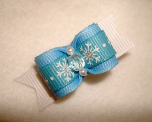"Winter Snow 5/8""-Winter, Christmas, Boy, Holiday, Snow, Snowflakes, Baby Blue, Light Blue"